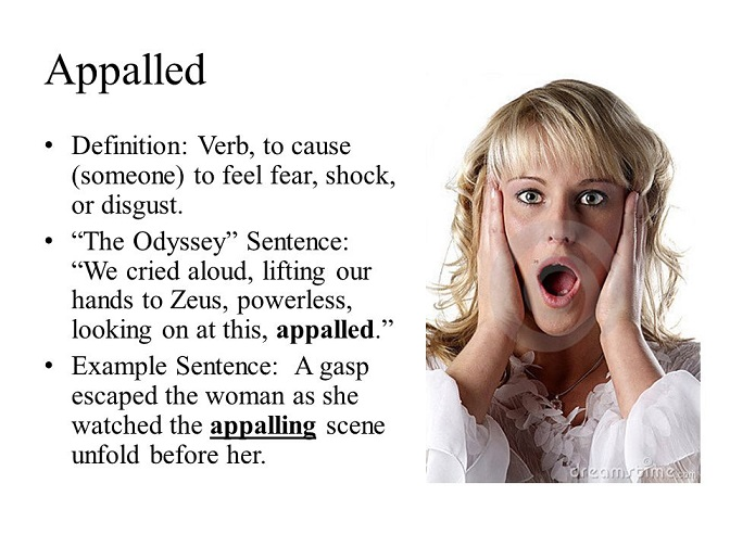Appalled – meaning of the word and examples – Words in book